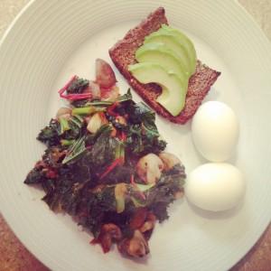 Kale, mushroom and tomato breakfast stir-fry