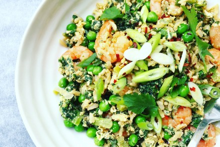 Healthy kale and prawn egg-fried rice