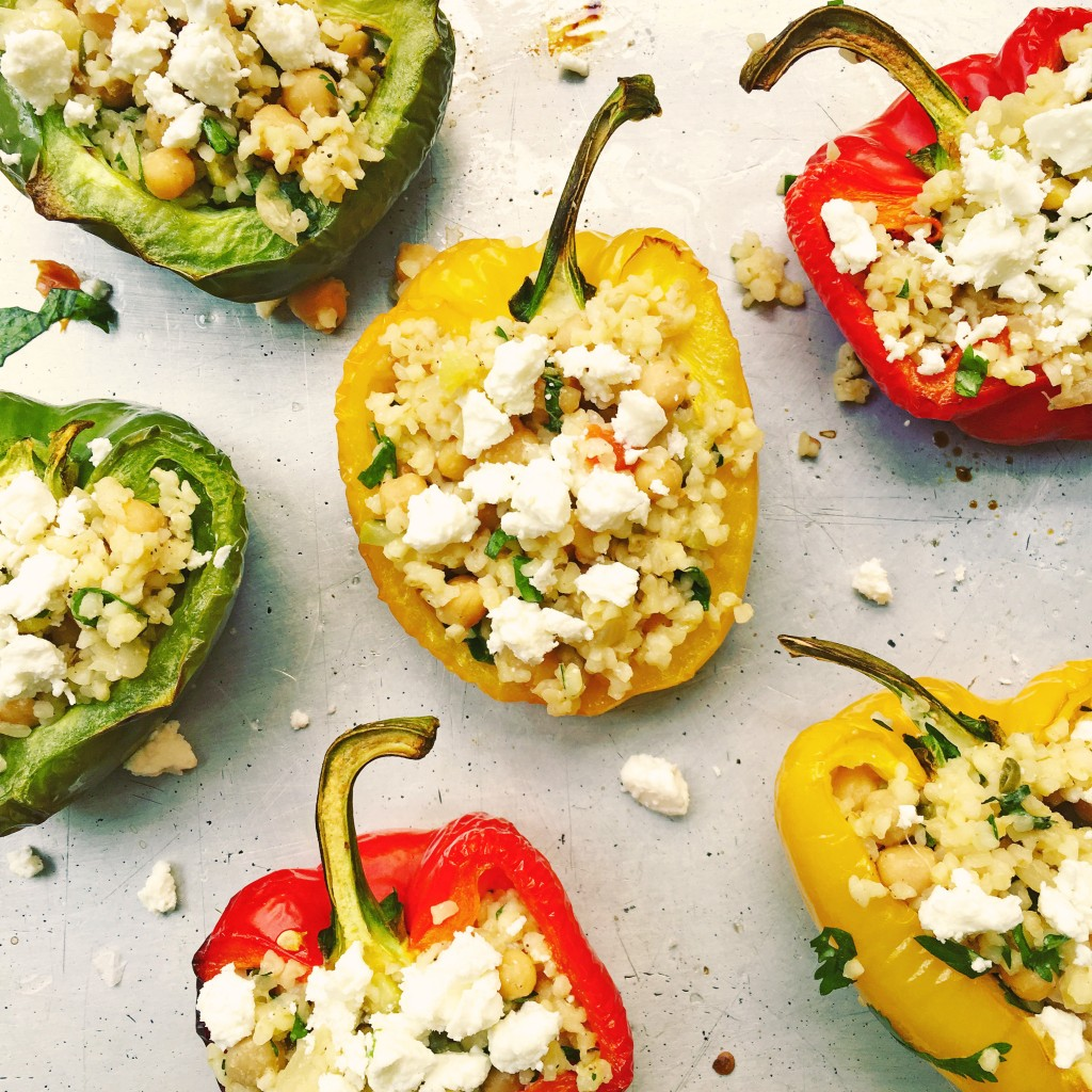 Stuffed peppers with chickpeas, courgette and feta recipe