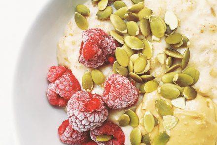 Cashew, date and raspberry porridge
