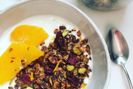 Cranberry, orange and pistachio granola recipe