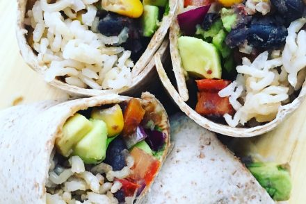 Veggie bean and rice burritos
