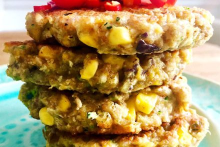Sweetcorn and courgette fritter