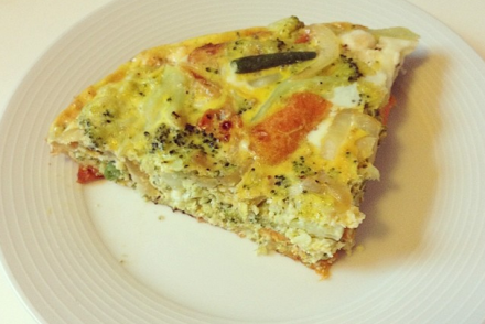 Frittata made with leftover vegetables
