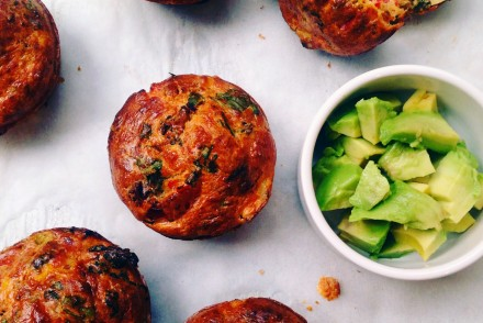 Red pepper, spinach and feta muffins