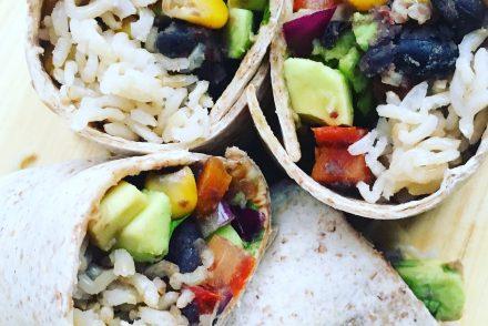 Veggie bean and rice burritos